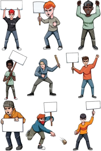 Protesting men. PNG - JPG and vector EPS file formats (infinitely scalable). Images isolated on transparent background.