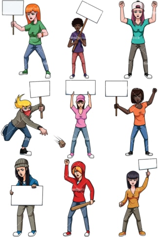 Protesting women. PNG - JPG and vector EPS file formats (infinitely scalable). Images isolated on transparent background.
