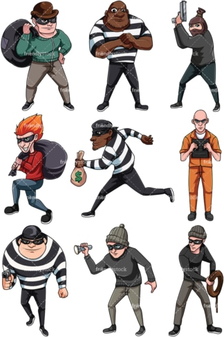 Thieves and criminals. PNG - JPG and vector EPS file formats (infinitely scalable). Image isolated on transparent background.