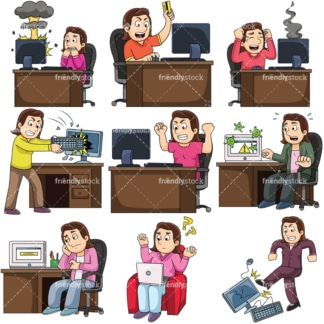 Woman having trouble with computer. PNG - JPG and vector EPS file formats (infinitely scalable). Images isolated on transparent background.