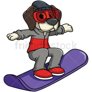 Beagle dog snowboarding. PNG - JPG and vector EPS file formats (infinitely scalable). Image isolated on transparent background.