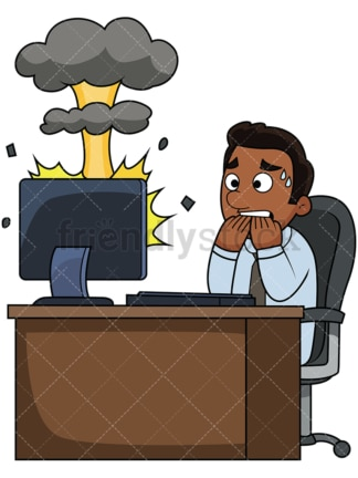 Black man computer mushroom cloud. PNG - JPG and vector EPS file formats (infinitely scalable). Image isolated on transparent background.