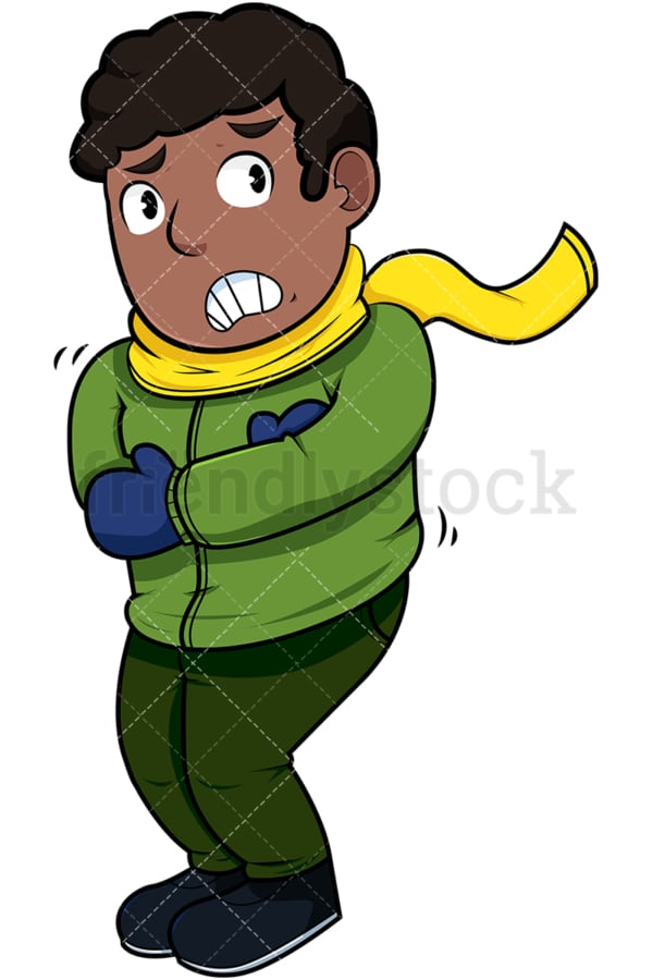 Black man feeling cold. PNG - JPG and vector EPS file formats (infinitely scalable). Image isolated on transparent background.