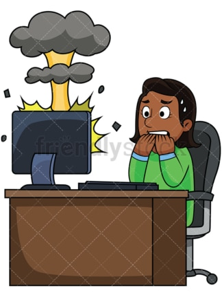 Black woman with destroyed computer. PNG - JPG and vector EPS file formats (infinitely scalable). Image isolated on transparent background.