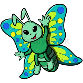 Cute butterfly waving hello. PNG - JPG and vector EPS file formats (infinitely scalable). Image isolated on transparent background.