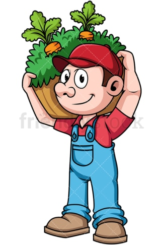 Farmer with harvested vegetables. PNG - JPG and vector EPS file formats (infinitely scalable). Image isolated on transparent background.