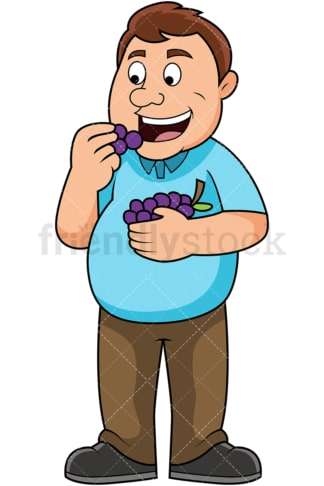 Overweight man eating grapes. PNG - JPG and vector EPS file formats (infinitely scalable). Image isolated on transparent background.