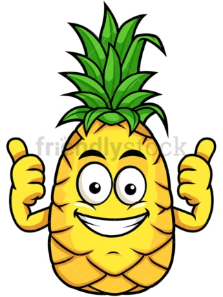 Happy pineapple thumbs up. PNG - JPG and vector EPS file formats (infinitely scalable). Image isolated on transparent background.