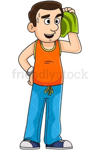 Man chatting after jogging. PNG - JPG and vector EPS file formats (infinitely scalable). Image isolated on transparent background.