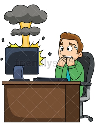 Man with exploding computer. PNG - JPG and vector EPS file formats (infinitely scalable). Image isolated on transparent background.
