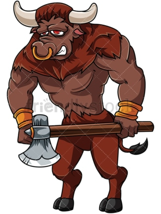Minotaur holding axe. PNG - JPG and vector EPS file formats (infinitely scalable). Image isolated on transparent background.