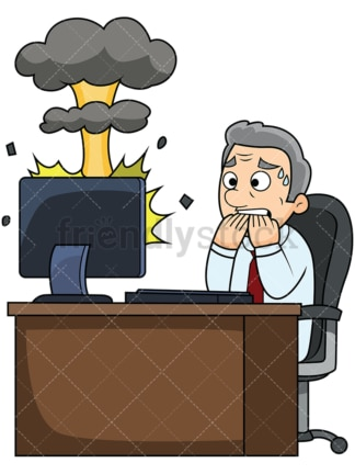 Old man with exploding computer. PNG - JPG and vector EPS file formats (infinitely scalable). Image isolated on transparent background.