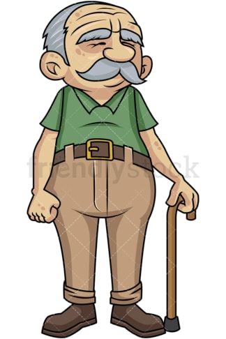 Old man with walking stick. PNG - JPG and vector EPS file formats (infinitely scalable). Image isolated on transparent background.