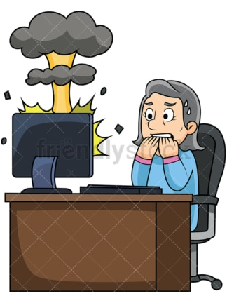 Old woman exploding computer. PNG - JPG and vector EPS file formats (infinitely scalable). Image isolated on transparent background.