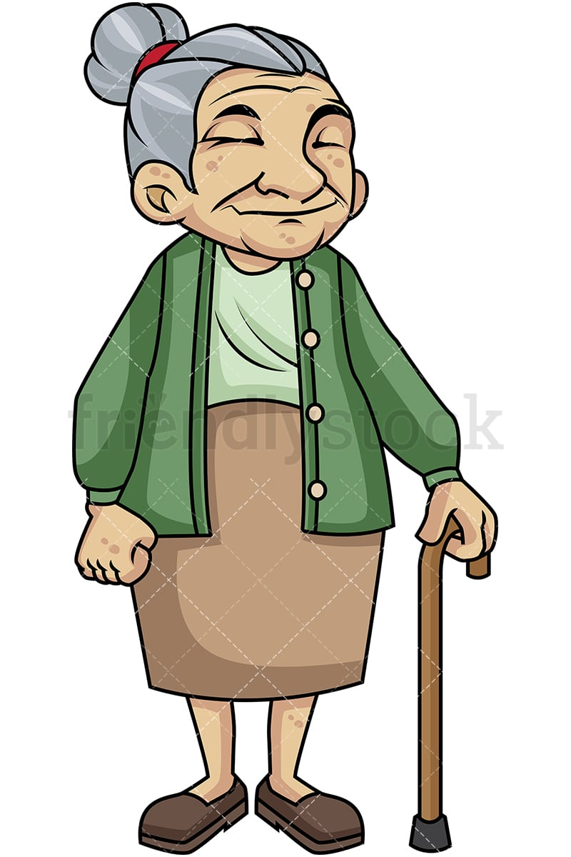 old woman with walking stick cartoon vector clipart