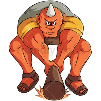 Orange cyclops smashing. PNG - JPG and vector EPS file formats (infinitely scalable). Image isolated on transparent background.