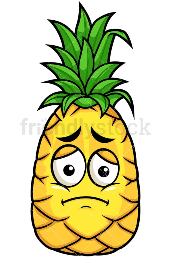 Pineapple feeling sad. PNG - JPG and vector EPS file formats (infinitely scalable). Image isolated on transparent background.