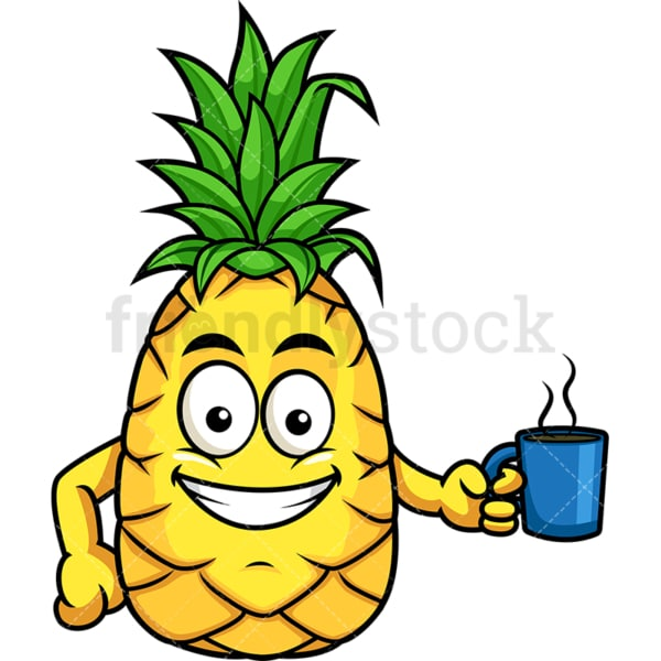 Pineapple holding coffee. PNG - JPG and vector EPS file formats (infinitely scalable). Image isolated on transparent background.
