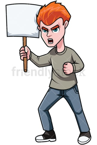 Protestor holding sign. PNG - JPG and vector EPS file formats (infinitely scalable). Image isolated on transparent background.