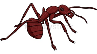 Red ant on alert. PNG - JPG and vector EPS file formats (infinitely scalable). Image isolated on transparent background.