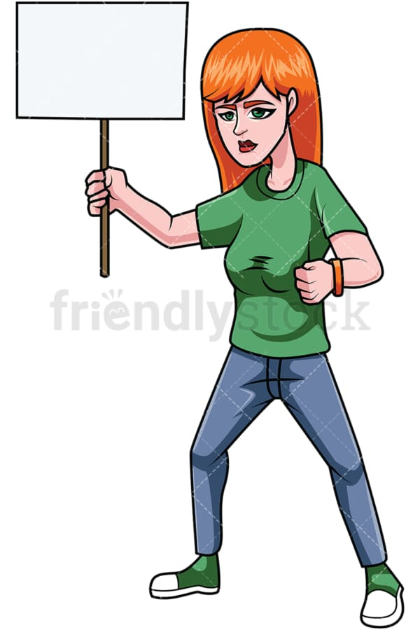 Redhead woman protesting. PNG - JPG and vector EPS file formats (infinitely scalable). Image isolated on transparent background.
