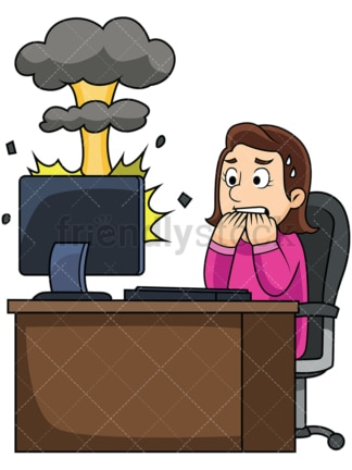 Woman with exploding computer. PNG - JPG and vector EPS file formats (infinitely scalable). Image isolated on transparent background.