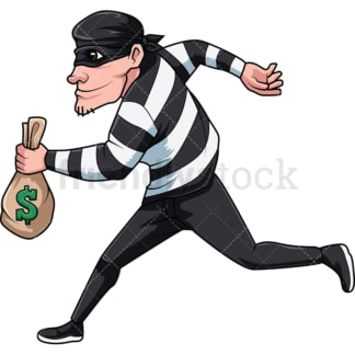 Thief running with money. PNG - JPG and vector EPS file formats (infinitely scalable). Image isolated on transparent background.