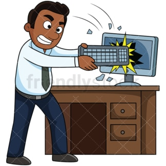 Angry black man wrecking computer. PNG - JPG and vector EPS file formats (infinitely scalable). Image isolated on transparent background.