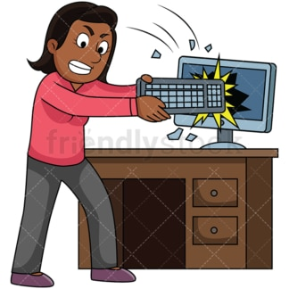Angry black woman breaking computer. PNG - JPG and vector EPS file formats (infinitely scalable). Image isolated on transparent background.