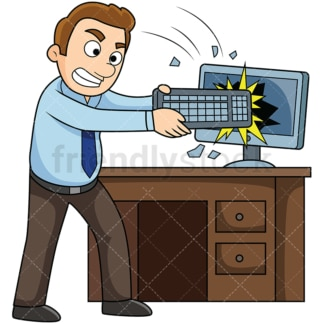 Angry man smashing computer screen. PNG - JPG and vector EPS file formats (infinitely scalable). Image isolated on transparent background.