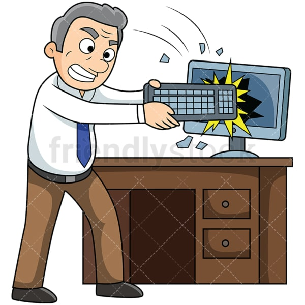 Angry old man destroying computer. PNG - JPG and vector EPS file formats (infinitely scalable). Image isolated on transparent background.