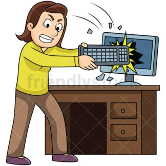 Angry woman smashing computer. PNG - JPG and vector EPS file formats (infinitely scalable). Image isolated on transparent background.