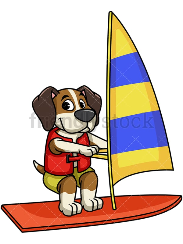 Beagle dog windsurfing. PNG - JPG and vector EPS file formats (infinitely scalable). Image isolated on transparent background.