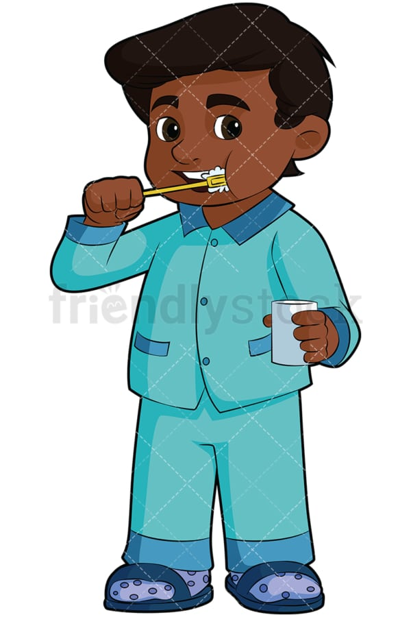 Black boy brushing teeth. PNG - JPG and vector EPS file formats (infinitely scalable). Image isolated on transparent background.