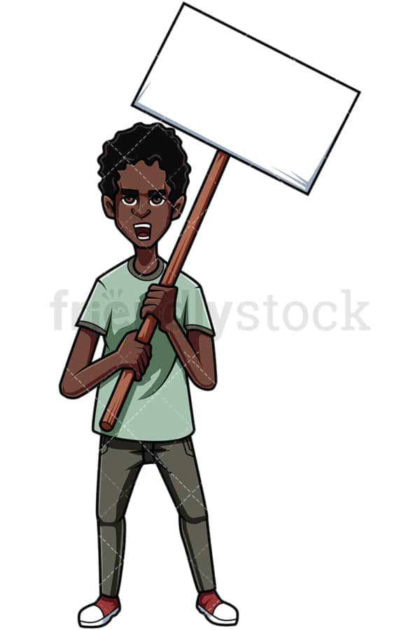 Black man protesting sign. PNG - JPG and vector EPS file formats (infinitely scalable). Image isolated on transparent background.