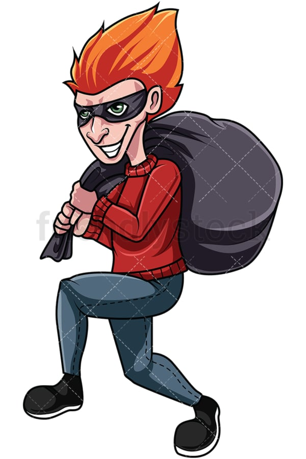 Burglar running with stolen goods. PNG - JPG and vector EPS file formats (infinitely scalable). Image isolated on transparent background.