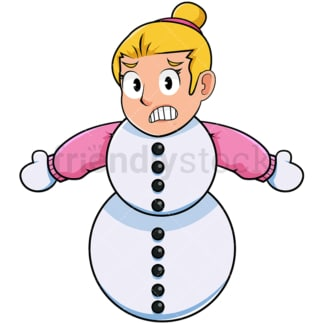 Cold woman turning into snowman. PNG - JPG and vector EPS file formats (infinitely scalable). Image isolated on transparent background.