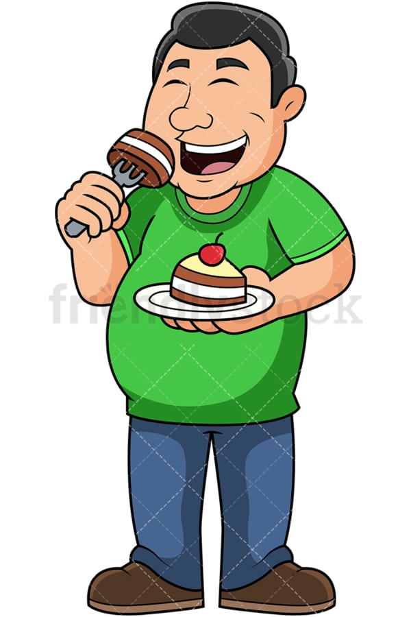 Overweight guy eating cake. PNG - JPG and vector EPS file formats (infinitely scalable). Image isolated on transparent background.