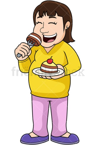Overweight woman eating cupcake. PNG - JPG and vector EPS file formats (infinitely scalable). Image isolated on transparent background.