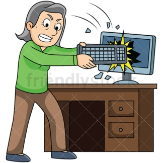 Furious old woman smashing computer. PNG - JPG and vector EPS file formats (infinitely scalable). Image isolated on transparent background.