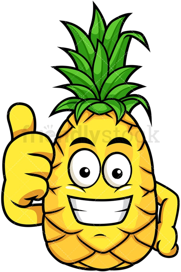Grinning pineapple thumbs up. PNG - JPG and vector EPS file formats (infinitely scalable). Image isolated on transparent background.