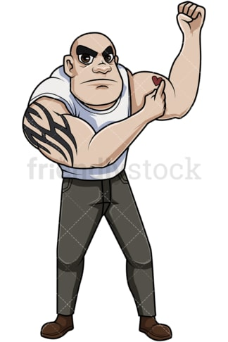 Man pointing to heart tattoo. PNG - JPG and vector EPS file formats (infinitely scalable). Image isolated on transparent background.
