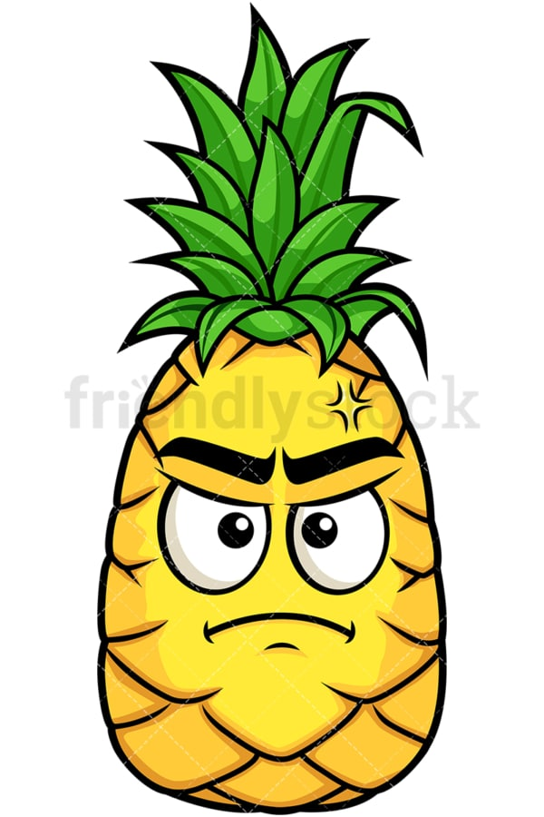 Pineapple feeling angry. PNG - JPG and vector EPS file formats (infinitely scalable). Image isolated on transparent background.