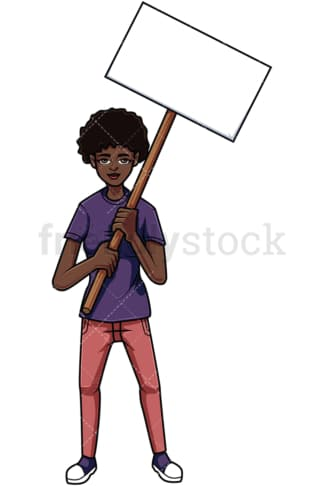 Protesting black woman. PNG - JPG and vector EPS file formats (infinitely scalable). Image isolated on transparent background.
