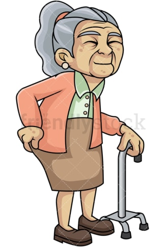 Weak old woman with hip pain. PNG - JPG and vector EPS file formats (infinitely scalable). Image isolated on transparent background.