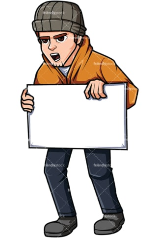 Activist holding sign. PNG - JPG and vector EPS file formats (infinitely scalable). Image isolated on transparent background.