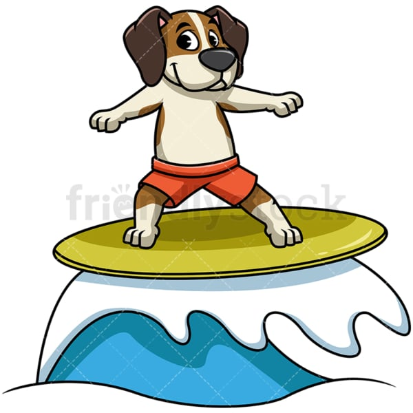 Beagle dog surfing. PNG - JPG and vector EPS file formats (infinitely scalable). Image isolated on transparent background.
