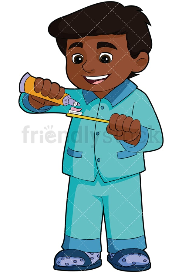Black boy applying toothpaste. PNG - JPG and vector EPS file formats (infinitely scalable). Image isolated on transparent background.