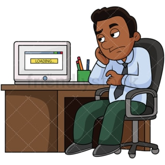 Black man with slow internet. PNG - JPG and vector EPS file formats (infinitely scalable). Image isolated on transparent background.