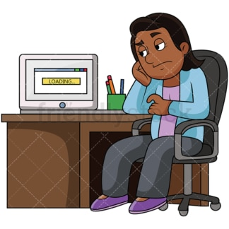 Black woman upset with slow computer. PNG - JPG and vector EPS file formats (infinitely scalable). Image isolated on transparent background.